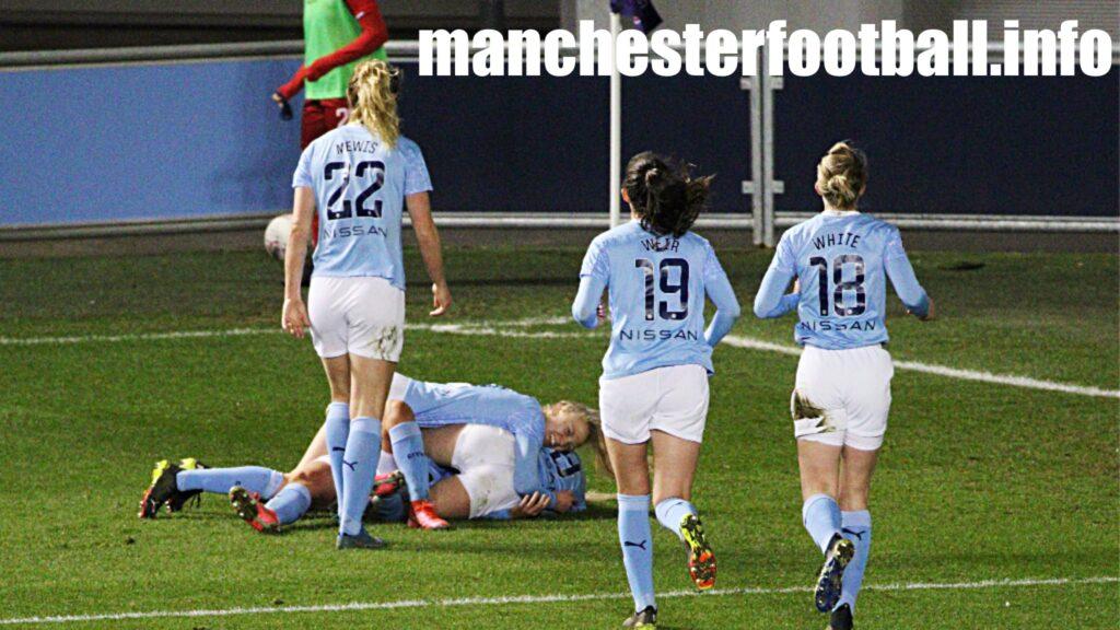 Lauren Hemp celebrates Chloe Kelly's winning goal for Manchester City Women against Reading - Saturday March 27 2021