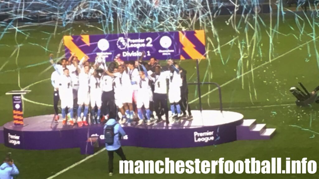 Manchester City EDS trophy presentation Friday April 30 2021