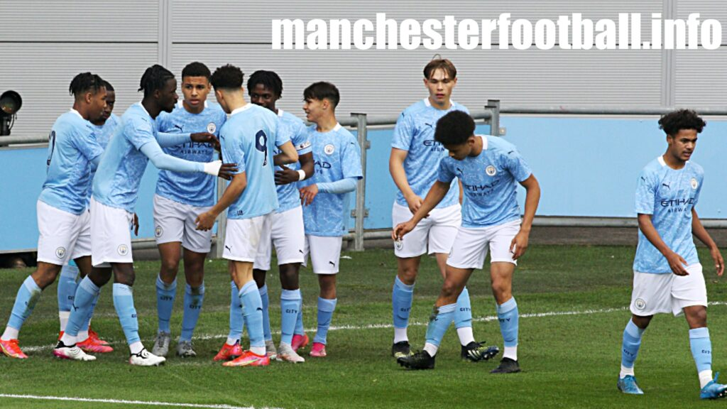 Sam Edozie celebrates the opening goal against Fulham U18 - Man City U18 vs Fulham U18 National Final Saturday May 22 2021