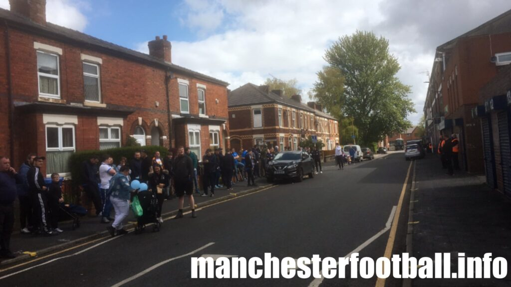 Fans outside Edgeley Park - Stockport County vs Torquay United Sunday May 16 2021