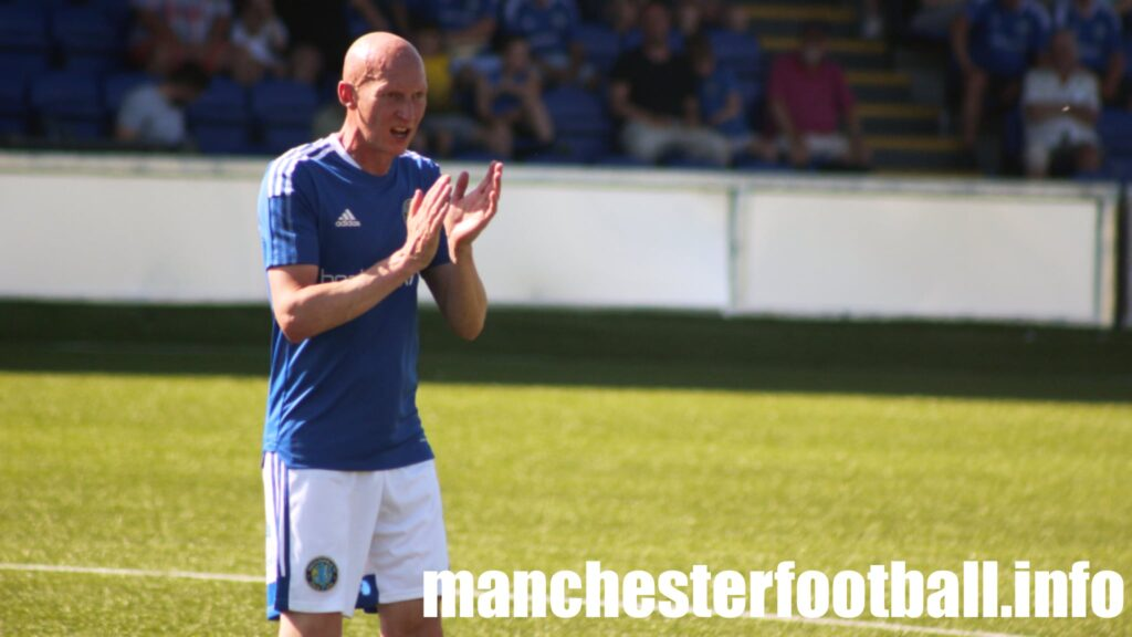 Macclesfield Town vs Stalybridge Celtic Saturday July 18 2021 - Danny Whittaker urges on the players
