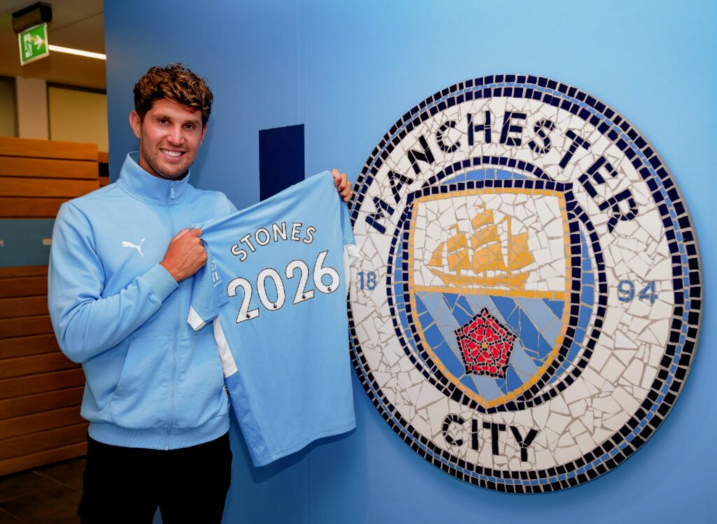 John Stones extends with Manchester City until 2026