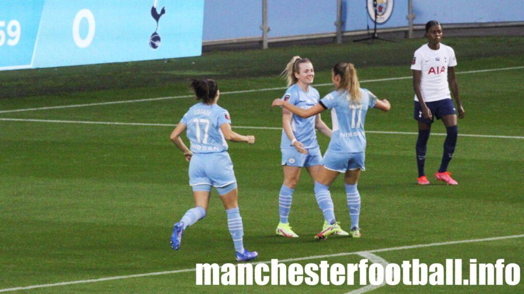 Lauren Hemp celebrates her goal with Janine Beckie and Vicky Losada - Man City Women vs Tottenham Women - Sunday September 12 2021