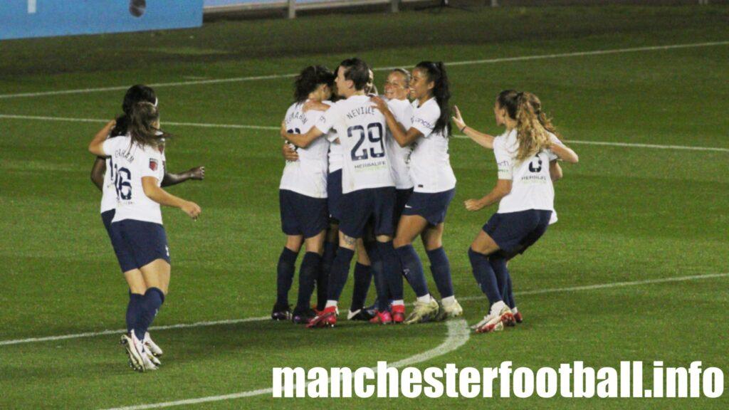 Tottenham Women celebrate equaliser at Man City Women - Sunday September 12 2021
